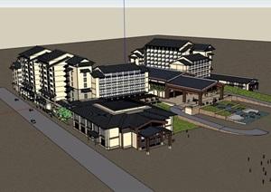 东南亚风格酒店完整详细设计SU(草图大师)模型