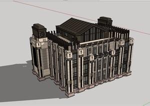 新古典风格多层办公楼SU(草图大师)模型