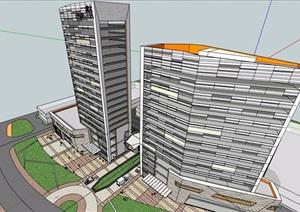 现代综合服务办公楼建筑SU(草图大师)模型