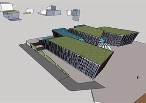 现代独特造型办公建筑设计SU(草图大师)模型