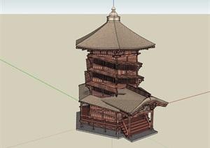 古典中式风格详细完整的塔楼素材设计SU(草图大师)模型