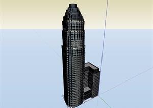 某现代风格详细的办公高层建筑楼设计SU(草图大师)模型
