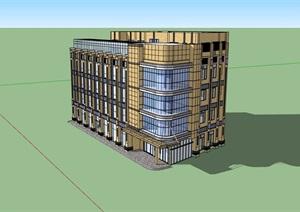 四层现代风格办公楼设计SU(草图大师)模型