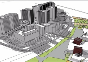 现代风格无材质贴图办公详细建筑楼设计SU(草图大师)模型