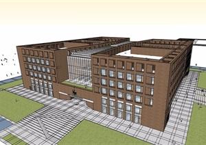 现代独特详细多层办公建筑楼设计SU(草图大师)模型