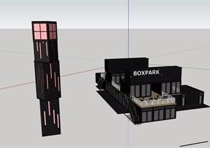 某集装箱服务餐饮建筑设计SU(草图大师)模型