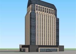 详细现代完整的办公建筑楼设计SU(草图大师)模型