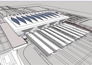 现代详细的车站建筑SU(草图大师)模型