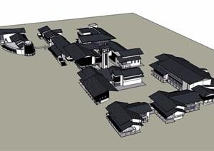 现代中式沿水商业渔人码头建筑设计SU(草图大师)模型