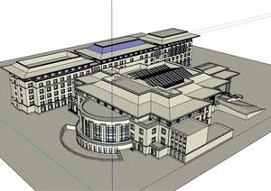 无材质贴图星级酒店设计SU(草图大师)模型