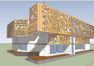 现代风格详细多层独特旅馆建筑SU(草图大师)模型