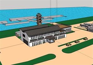码头车站详细建筑设计SU(草图大师)模型