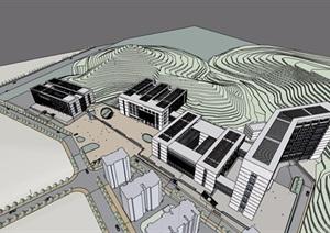 某详细的多栋医院建筑楼设计SU(草图大师)模型