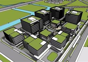 现代风格详细的产业园办公建筑SU(草图大师)模型