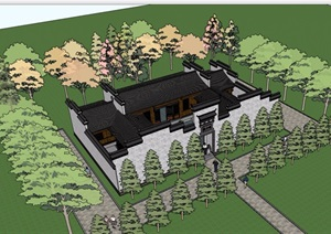 中式传统院落住宅建筑SU(草图大师)模型