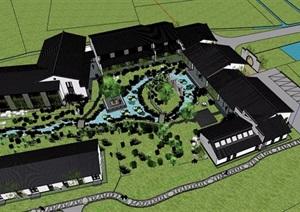中式住宅建筑设计SU(草图大师)模型含庭院景观