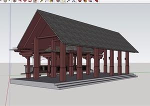 古典中式风格详细亭廊素材设计SU(草图大师)模型