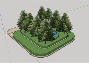 园林景观种植池及水池设计SU(草图大师)模型