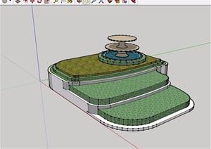 现代风格种植花池及水池设计SU(草图大师)模型