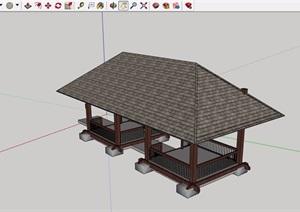 中式详细完整的亭子素材设计SU(草图大师)模型