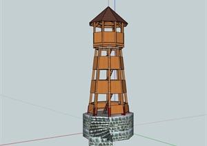 中式园林景观塔素材设计SU(草图大师)模型