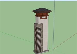 中式园林景观塔设计SU(草图大师)模型