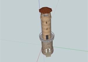 欧式风格详细完整的塔SU(草图大师)模型