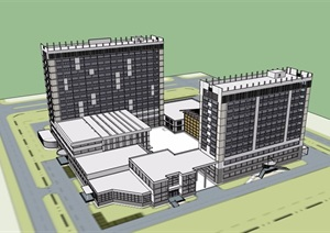 中式风格详细政府办公建筑楼SU(草图大师)模型