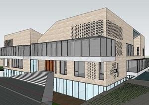 现代创意折板坡屋顶砖砌表皮院落式艺术家工作室私人住宅民宿别墅
