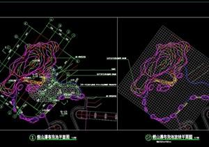 景观假山、瀑布、泡池、CAD施工图设计