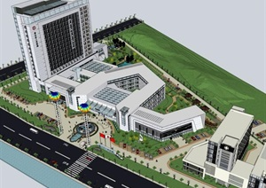 梯形基地现代创意简洁风综合医疗疗养院