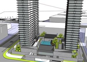 现代创意新中式披檐高层住宅公寓园林式中式宅间会所活动中心综合体