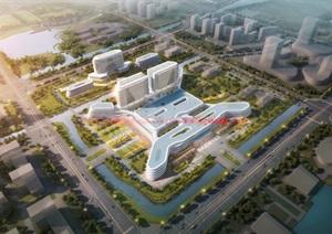 现代创意简约风参数化流线型线条大型综合医疗疗养院医院
