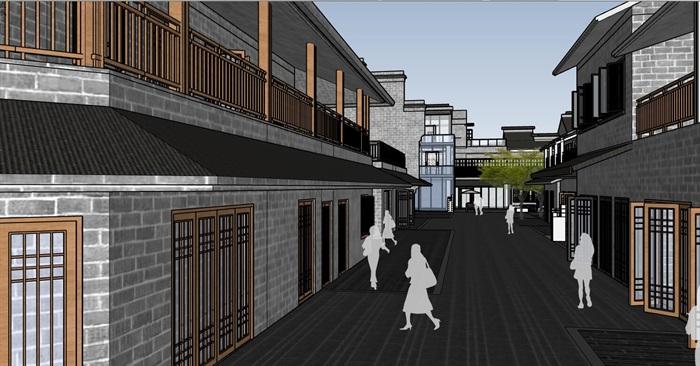 现代创意新中式仿古建筑文化旅游休闲商业组团规划步行风情水街[原创]