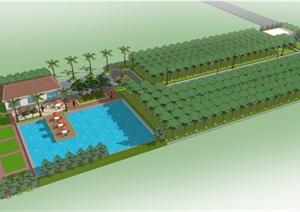 某农庄、农家乐景观SU(草图大师)模型