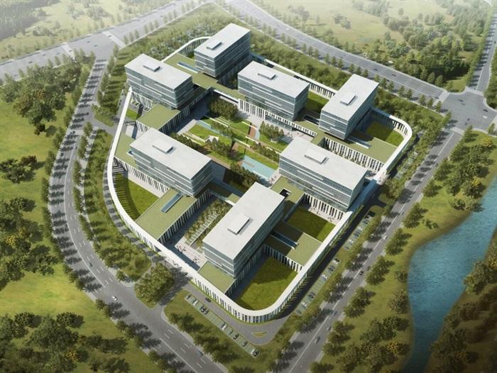 现代科技园技术科研教育中心办公文化产业园区规划建筑设计cad,高清图片