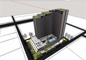小高层办公详细建筑楼设计SU(草图大师)模型