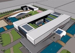现代多层办公建筑及景观设计SU(草图大师)模型