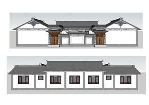 白族民居三合院模型+DWG平面方案