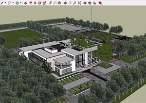 现代详细完整的生态餐厅建筑设计SU(草图大师)模型