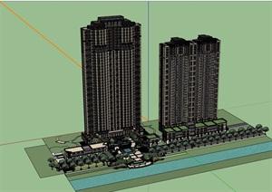 新古典风格居住建筑楼及景观设计SU(草图大师)模型