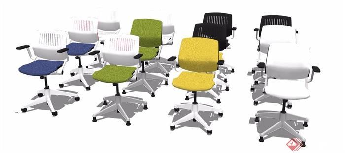 16款现代风格座椅转椅素材su模型