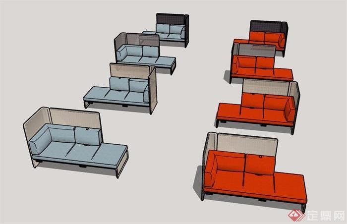 两组现代风格沙发家具素材su模型