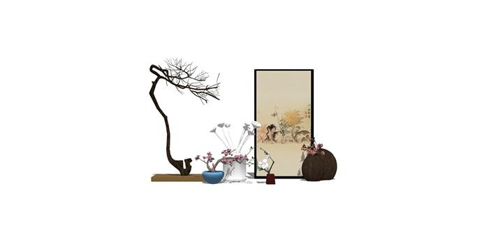 新中式房间饰品摆架组合SU(1)