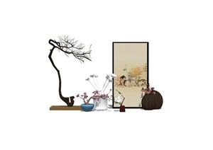 新中式房间饰品摆架组合SU(草图大师)