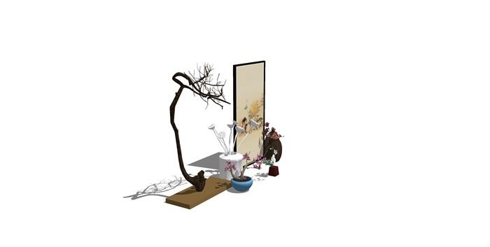 新中式房间饰品摆架组合SU(2)