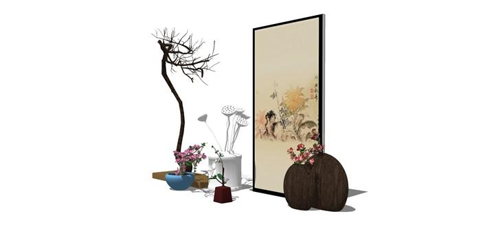 新中式房间饰品摆架组合SU(3)