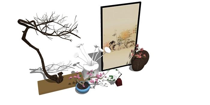 新中式房间饰品摆架组合SU(4)