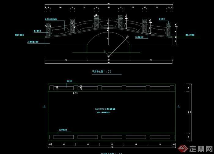 石拱桥cad施工图cad的英文界面图片
