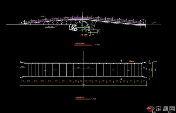 现代中式详细石拱桥cad施工图cad成模型重新图片